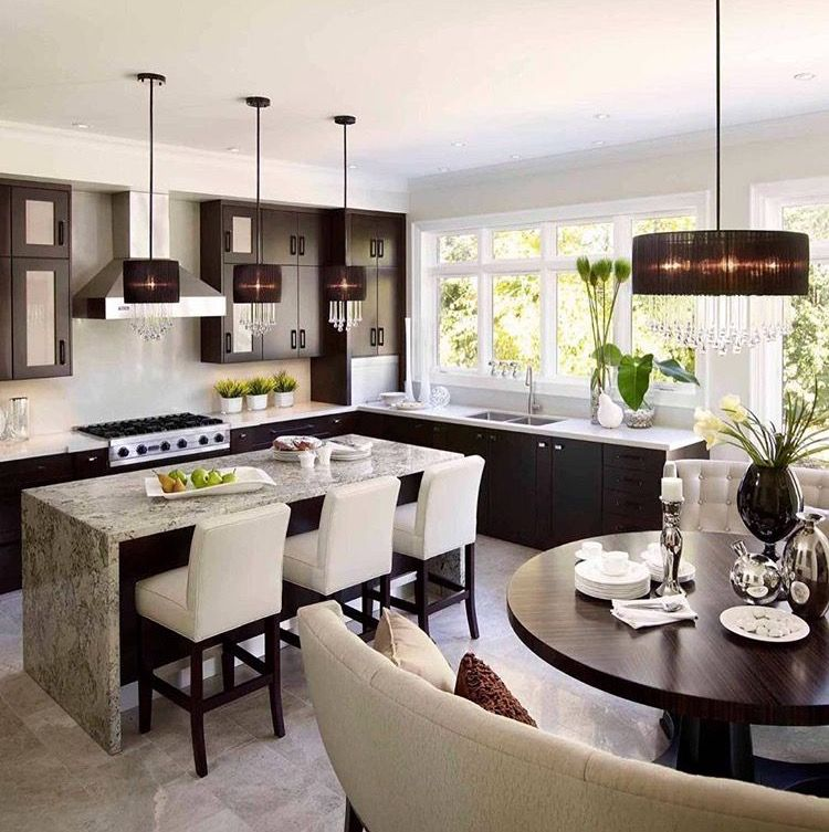 Round Kitchen Island With Seating: Open Plan Contemporary Kitchen/dining Area. Island/bar