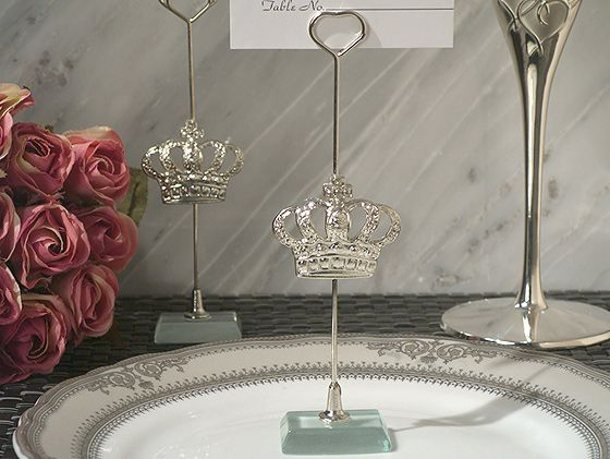 looking for a favor fit for kings and queens look no further our silver royal crown place card holder wedding favors is it