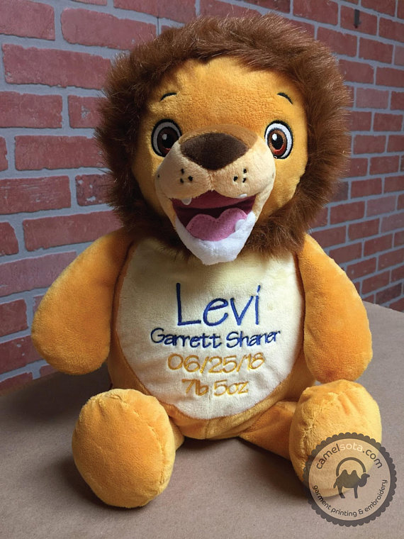 Custom Embroidered Stuffed Lion Cubbie Numbutu Lion Cubbie Monogrammed Lion