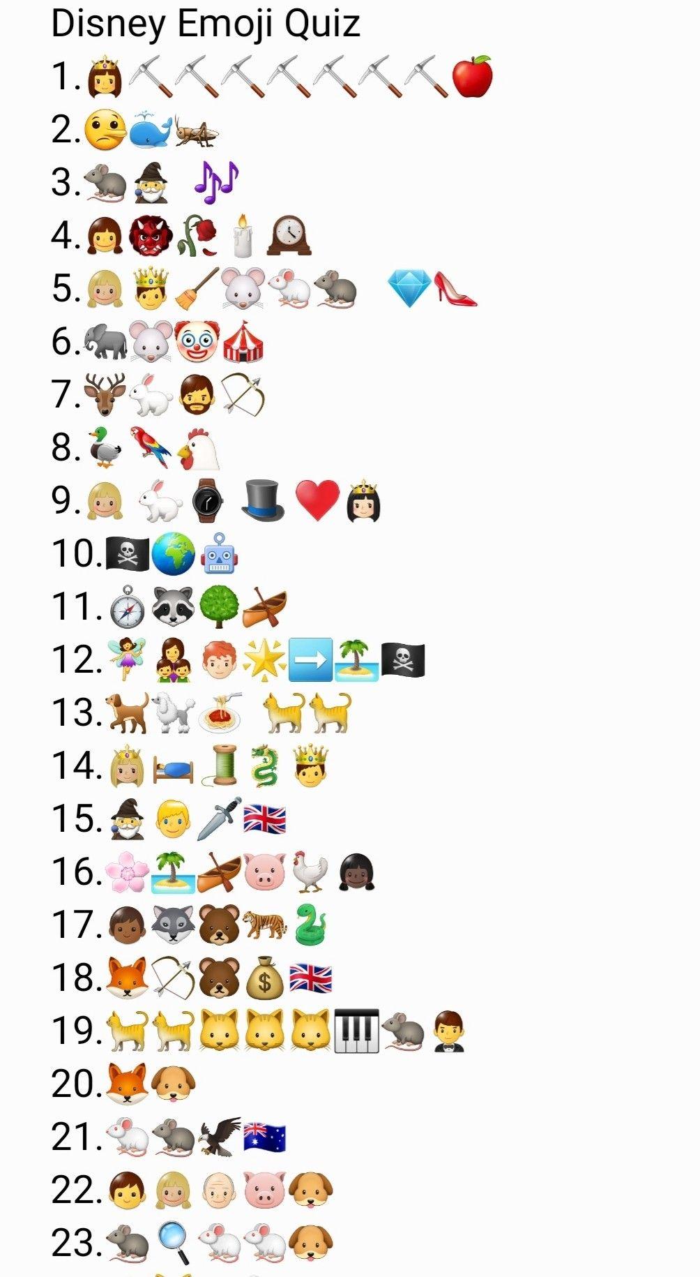Disney Emoji Quiz Part 1 In 2020 Emoji Quiz Disney Emoji Emoji Games