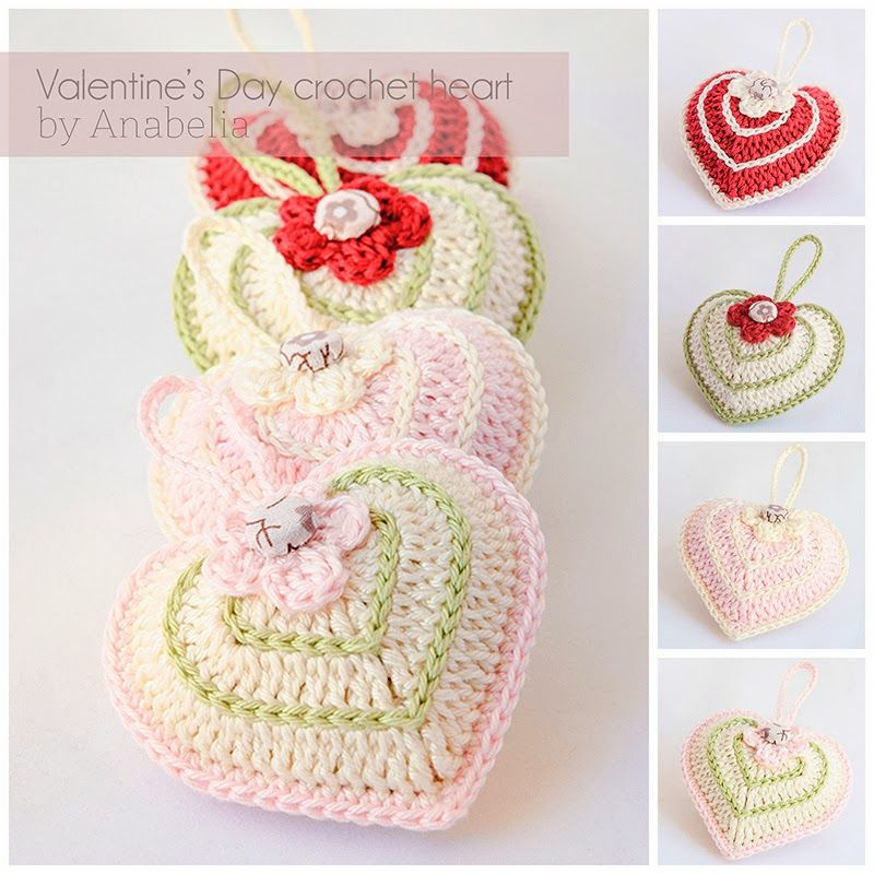Valentine\'s Day crochet heart with chart - Anabelia Handmade | Mini ...