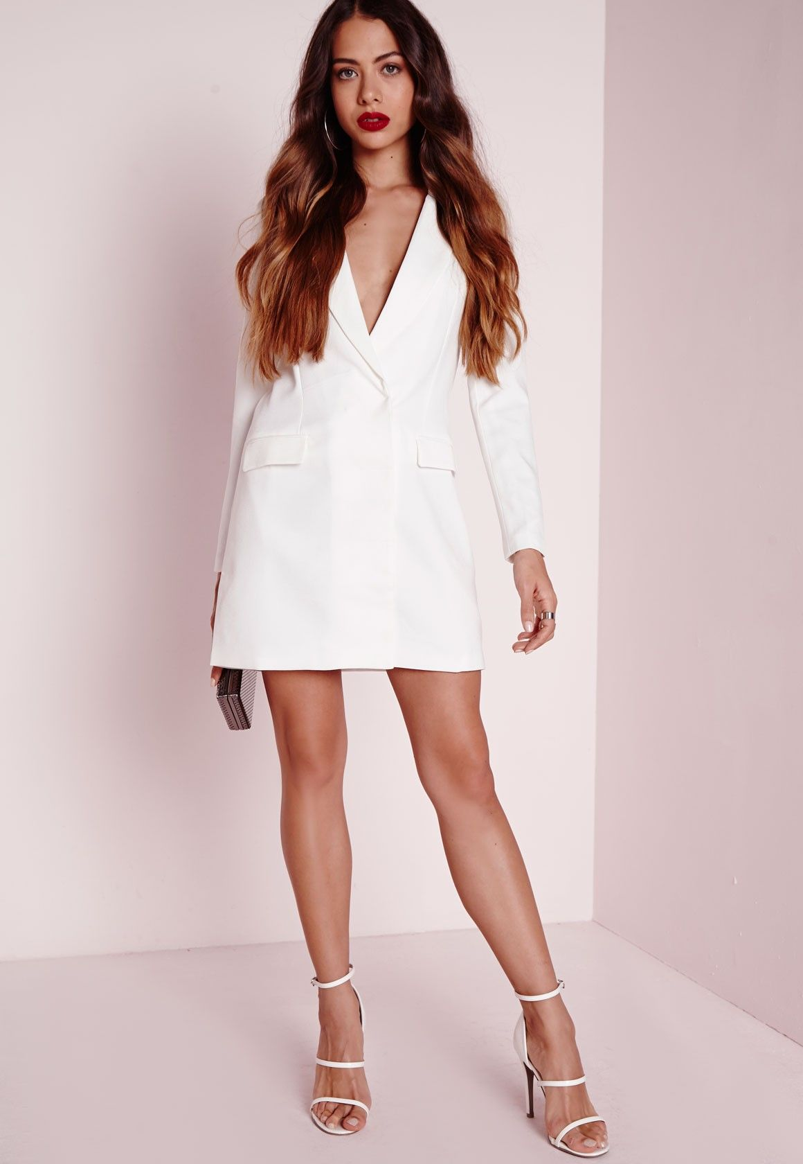 9a59bb3684f5a Missguided - Robe blazer blanche à manches longues   White Sexy Dresses