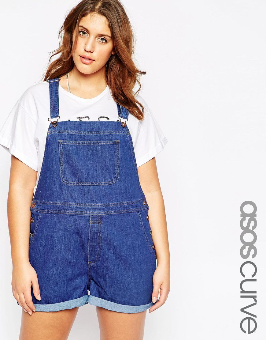 097cc0f045aa9 Image 1 of ASOS CURVE Overall Short in Rich Blue with Rolled Hem Cheap Plus  Size