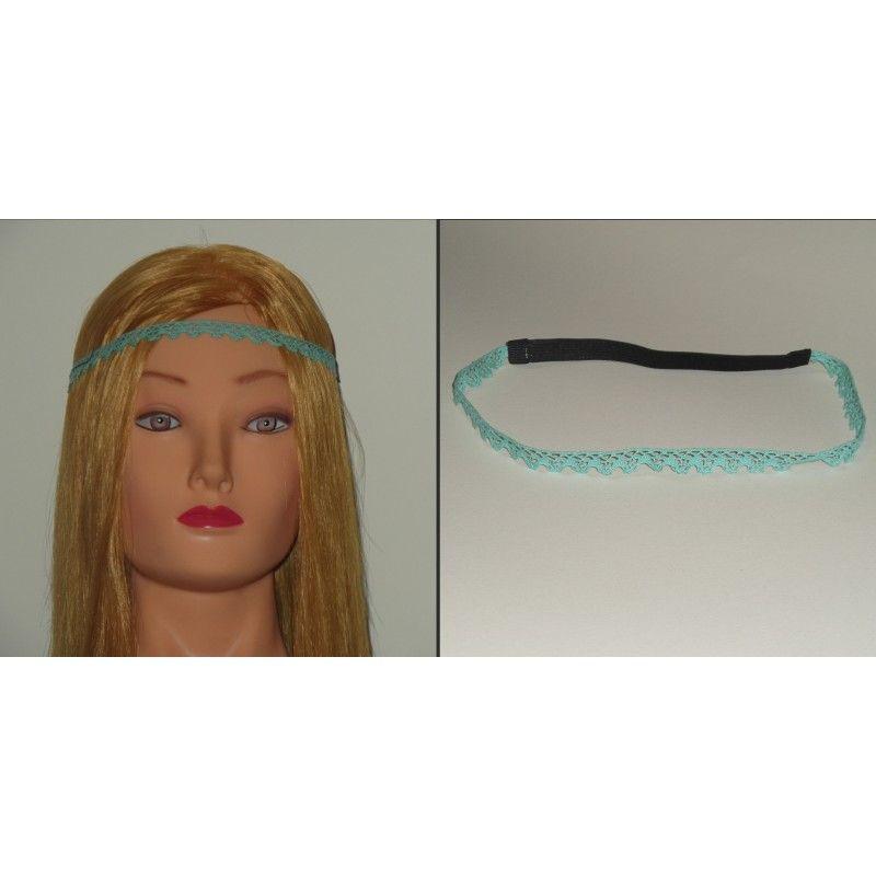 Head band en dentelle, de coloris vert bleu, 1 cm.