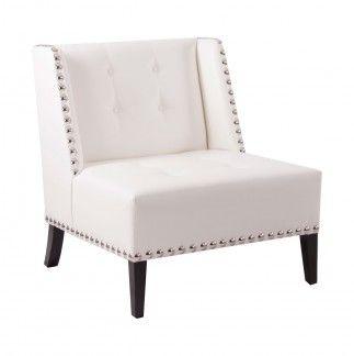Sill n de madera tapizado en color blanco con tachuelas - Sofas individuales modernos ...