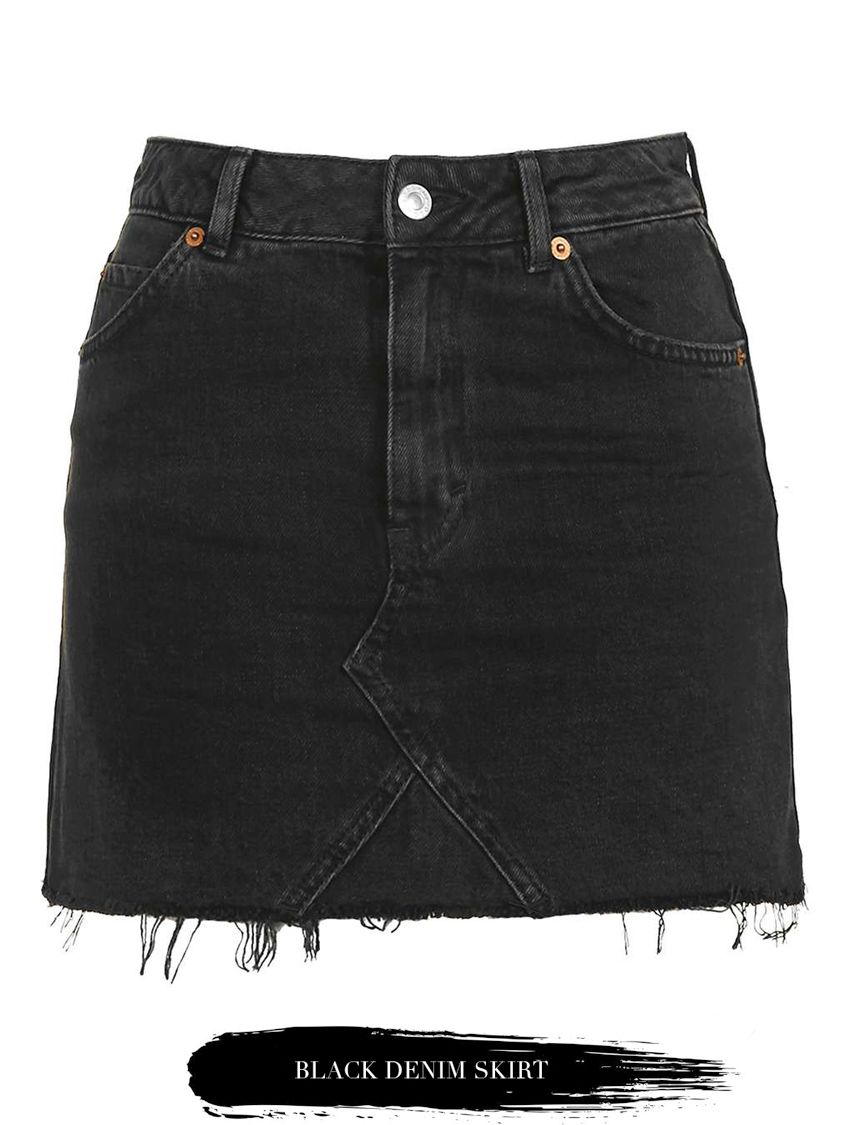 denim rok zwart