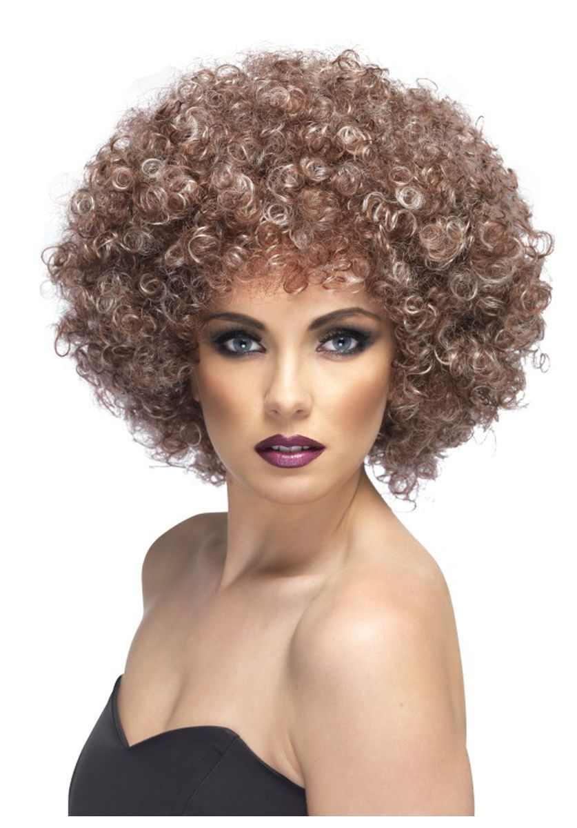 Perm Wig Adult Womens 70s Disco Long Curly Halloween Costume Fancy Dress