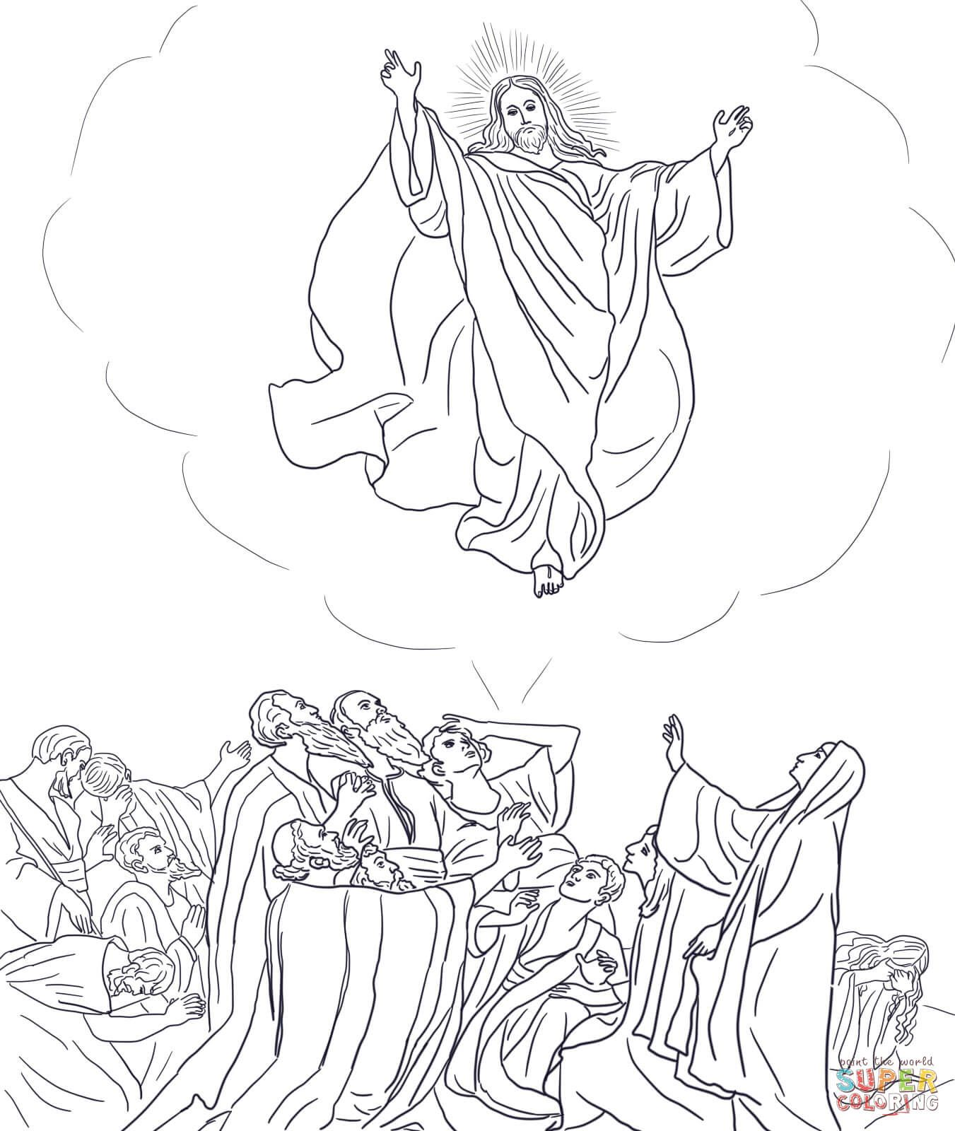 Jesus Ascends to Heaven coloring page from Jesus Resurrection ...