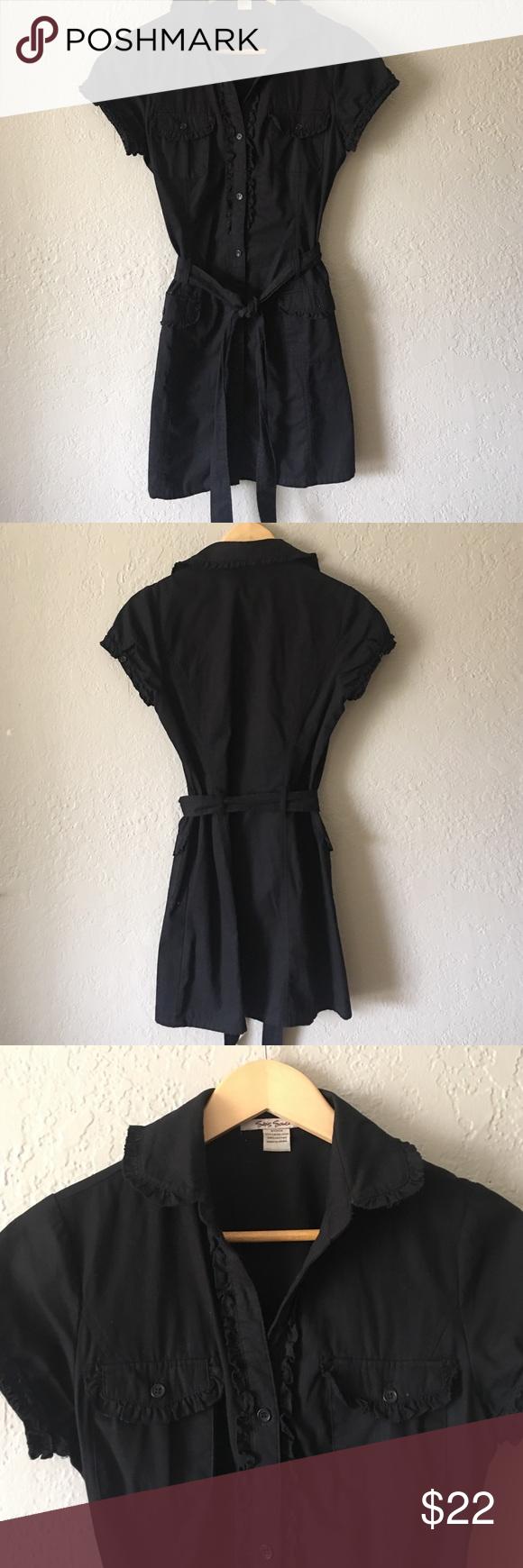Sans Souci dress Black twill shirt dress with ruffle trim. Good condition Sans Souci Dresses Midi