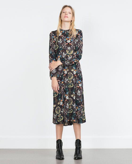 Printed maxi dress zara