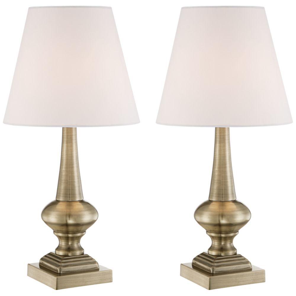 Set Of 2 Brooks Antique Brass Finish Touch Table Lamps Style 4d848 4d848 Touch Table Lamps Table Lamp Lamp