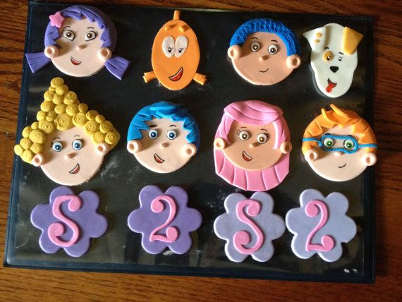 Set of Fondant Bubble Guppies Cupcake Toppers by HeavenlyCakesFL, $50.00