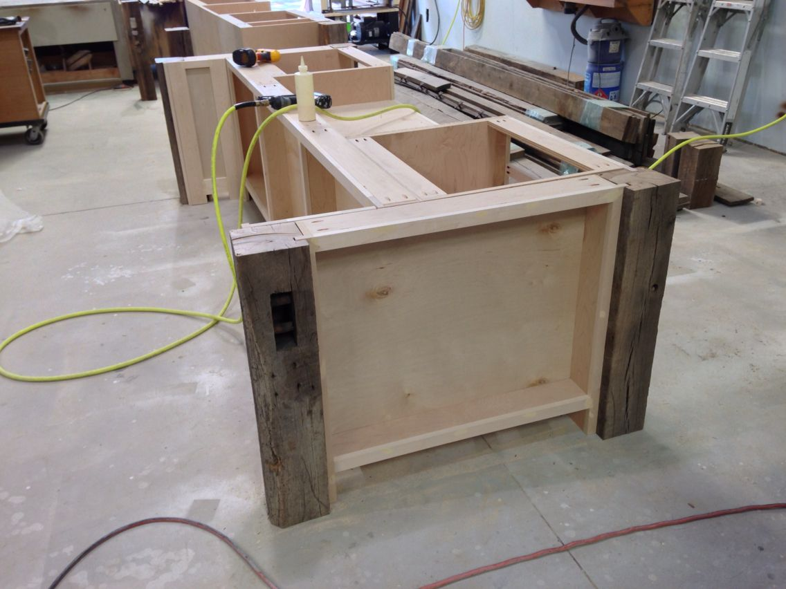 One Of The Kitchen Islands The Corner Posts Are Parts Of Beams Taken From A Civil War Era Barn In Ohio Bars For Home Dallas Kitchen Home Decor