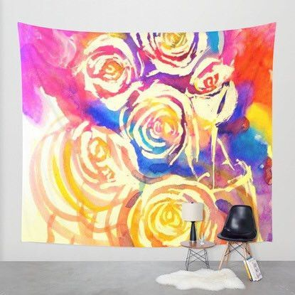 Abstract Colorful Floral Watercolor Wall Hanging Art Tapestry ...