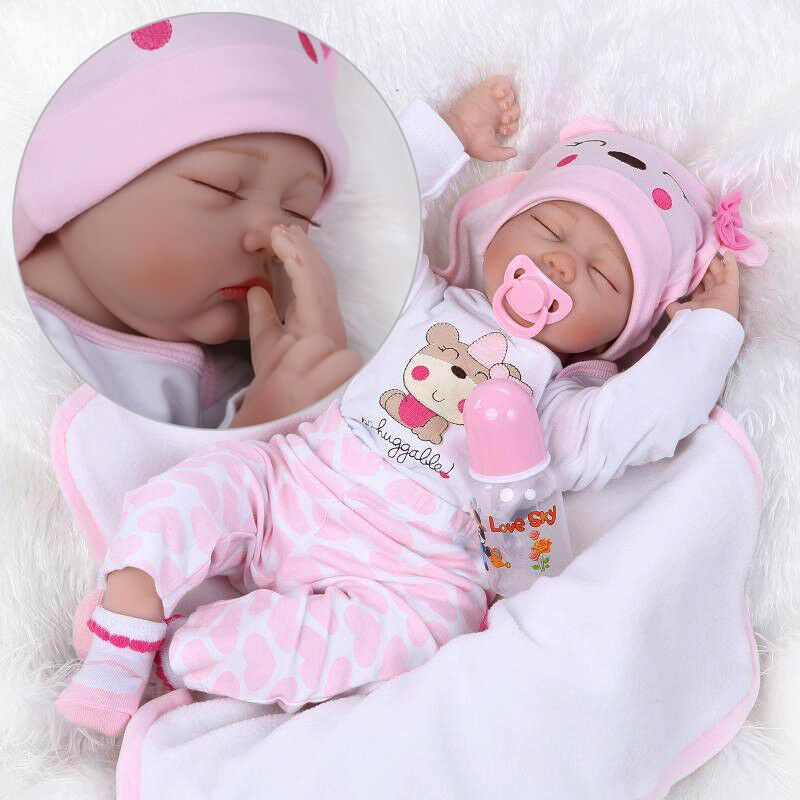 "22/"" Realistic Handmade Reborn Baby Doll Newborn Silicone Vinyl Girl Dolls US"