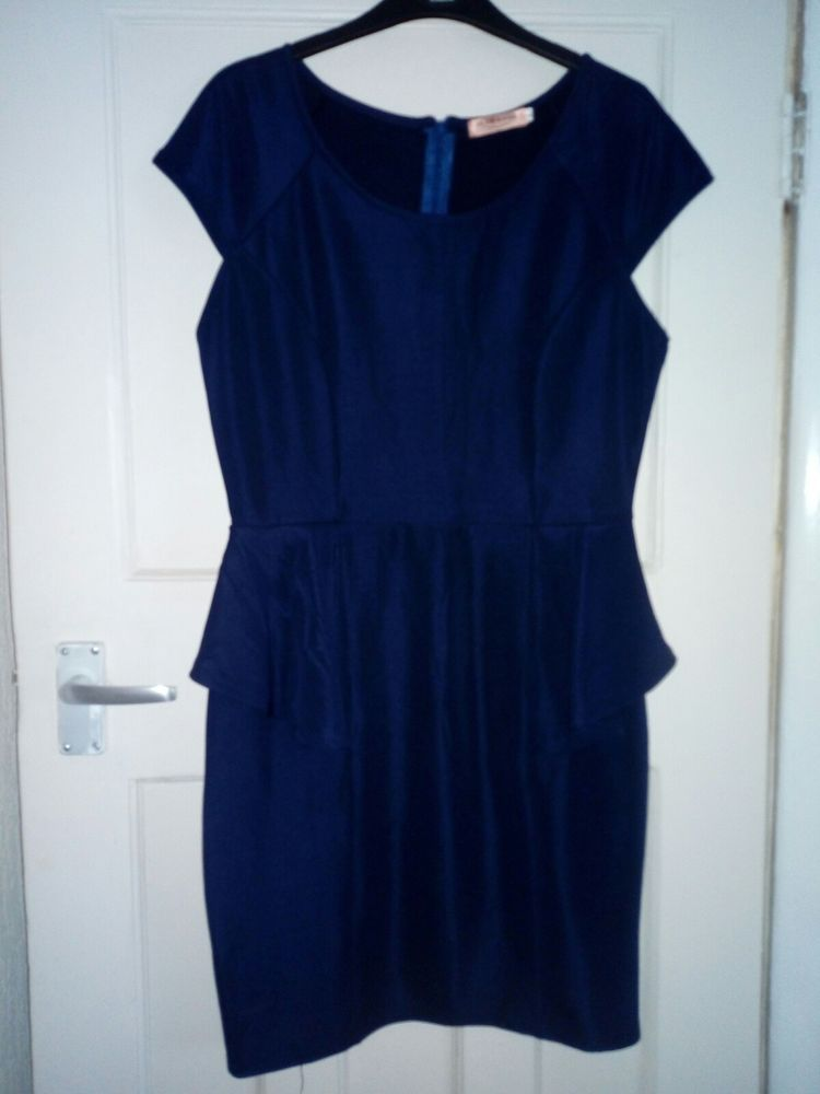 73b0cc80a2986 Fabulous smart wedding office formal Navy Blue Peplum Dress! Sz Uk 14 New!