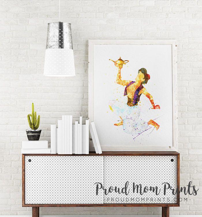 Aladdin art print poster disney aladdin wall art nursery decor printable watercolor genie lamp instant download playroom nursery wall decor
