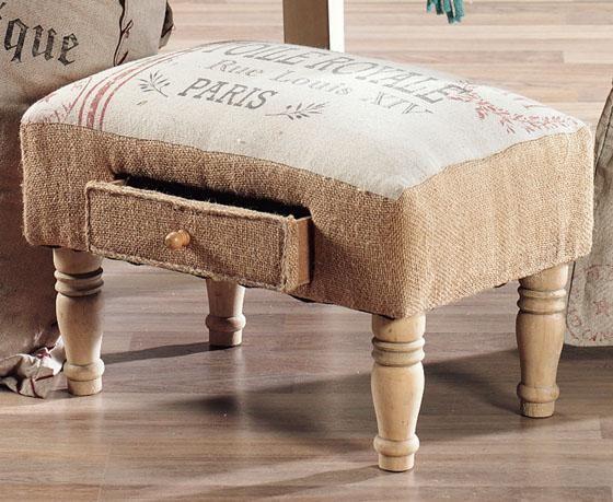 Feedsack Foot Stool Ottomans Living Room Furniture