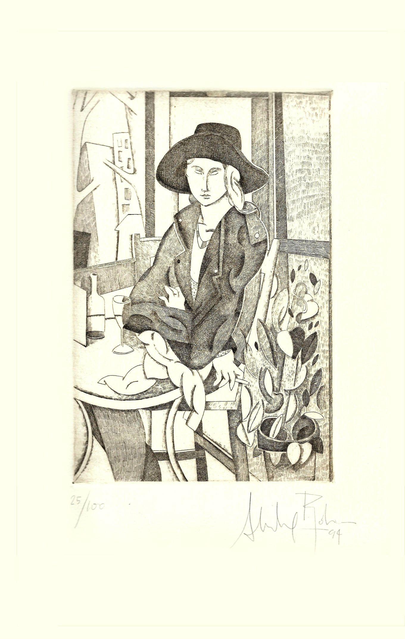 """AUTOR: Alfredo Roldán LUGAR DE NACIMIENTO: Madrid, 1965 """"Esperando en el café""""  MATERIAL DE MATRIZ: Plancha de Zinc TECNICA: Aguafuerte TAMAÑO:  40 x 25 cm. TECNICA: Aguafuerte Papel: Super Alfa de la casa Guarro Tirada: 100 ejemplares AÑO: 1994"""