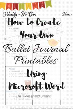How To Create You Own Bullet Journal Printables Using Microsoft Word