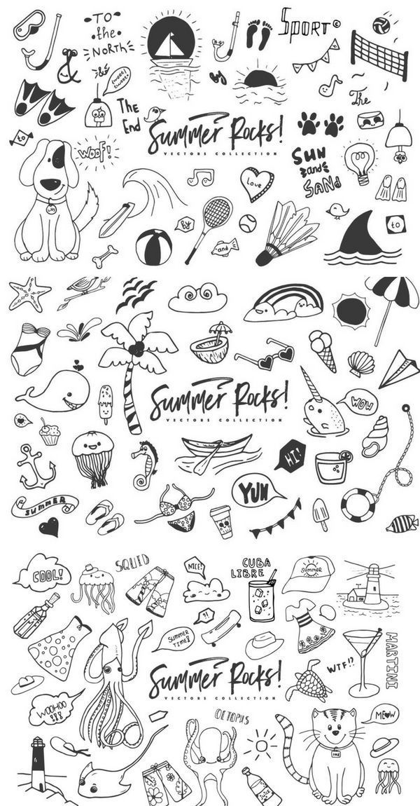 Summer Rocks! Vectors Collection (14196) | Illustrations | Design Bundles