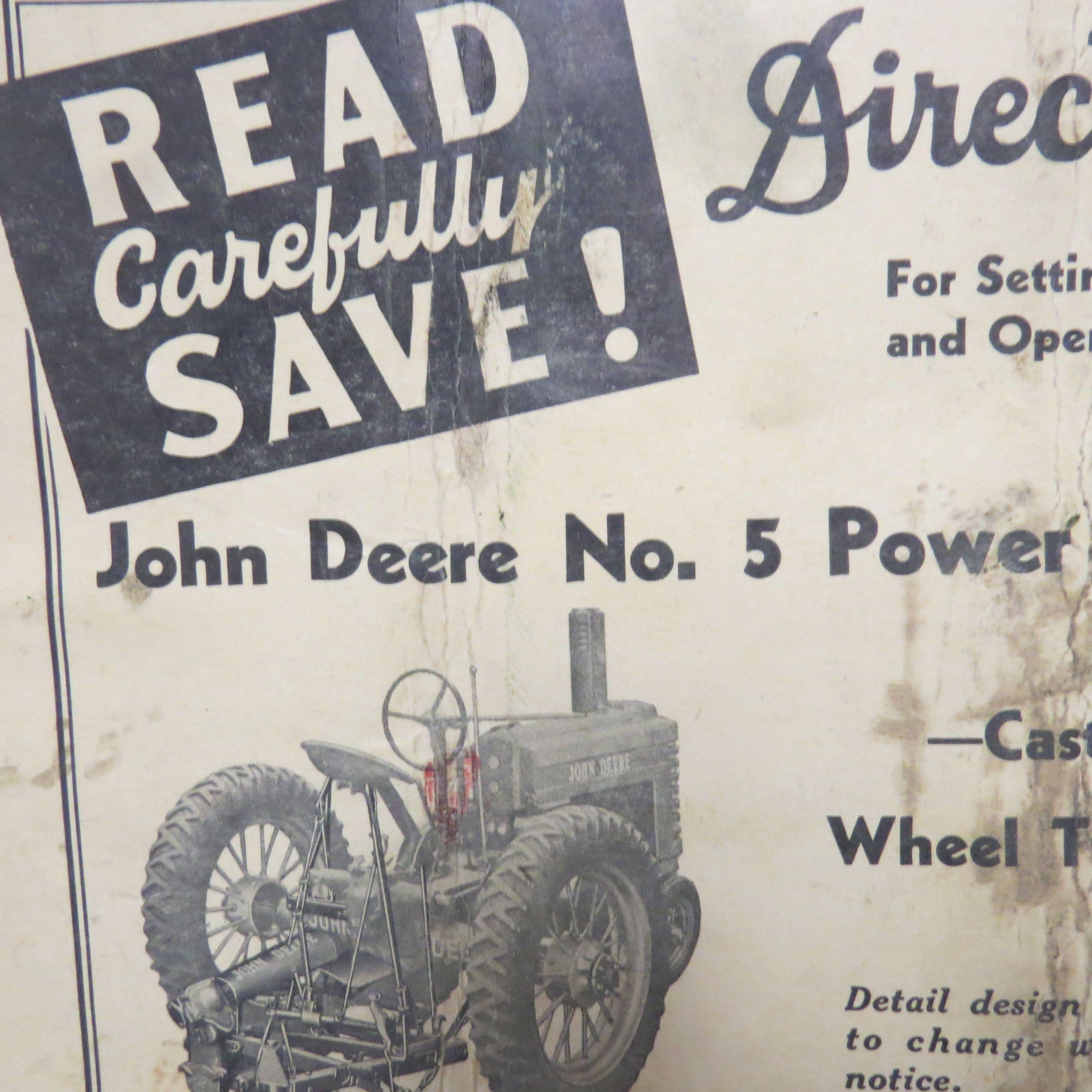 Vintage John Deere Directions Power Mower Booklet Sickle Bar