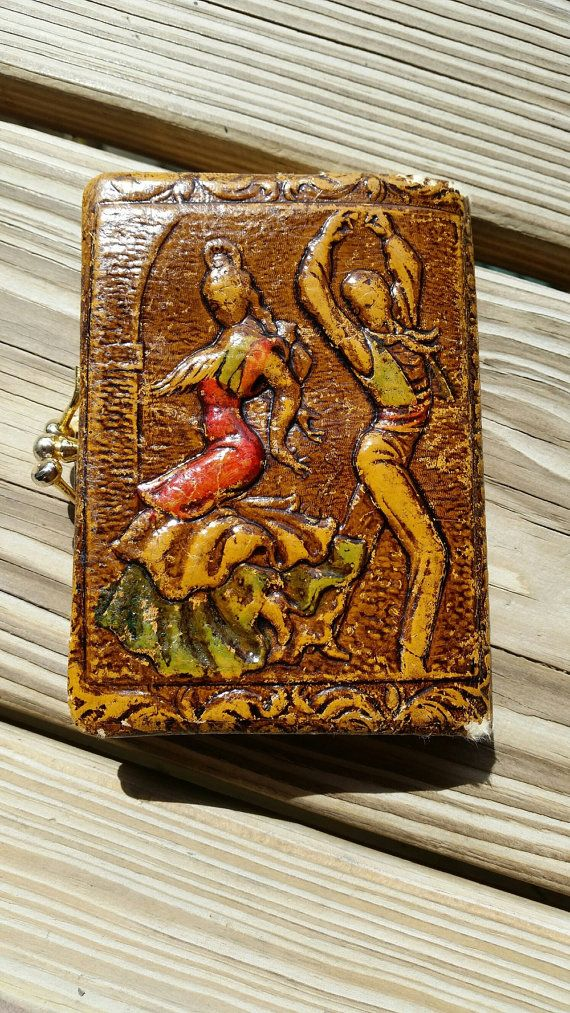 70's Spanish Flamingo Dancers Faux Leather Wallet, Vintage Coin Purse, Spain, Bohemian Wallet, Dresser Decor, Boho Decor, Vintage Accessory