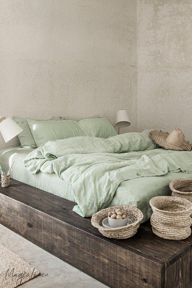 Linen bedding set in Sage Green. King, Queen duvet cover