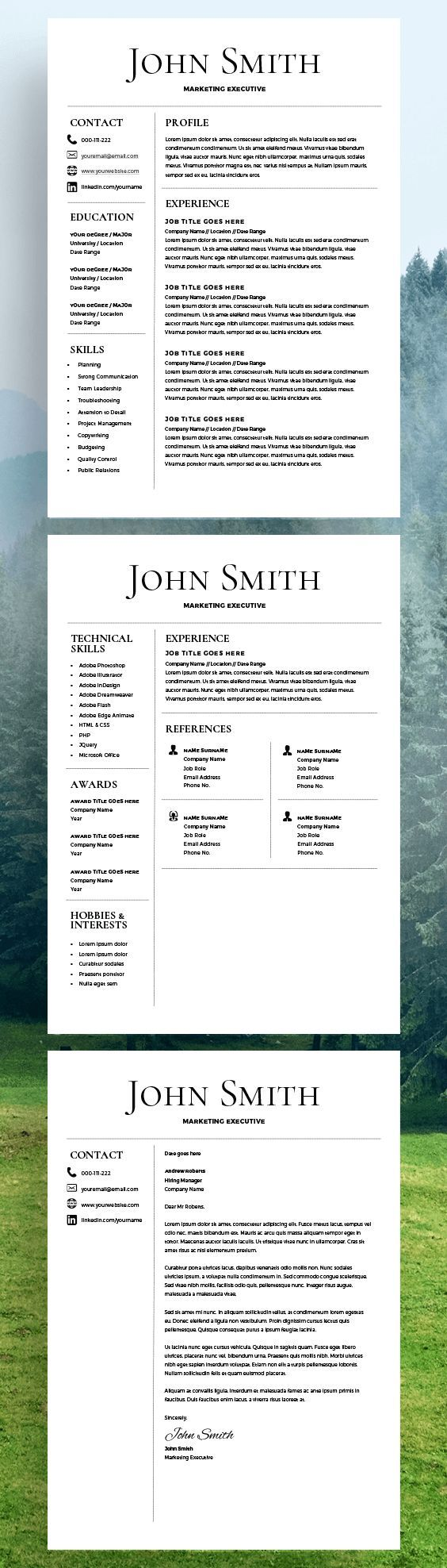 Contemporary Resume Templates Resume Template  Cv Template  Free Cover Letter  Ms Word On Mac