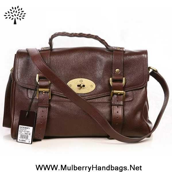 Womens Mulberry Oversized Alexa Leather Satchel Bag Dark Coffee For Sale