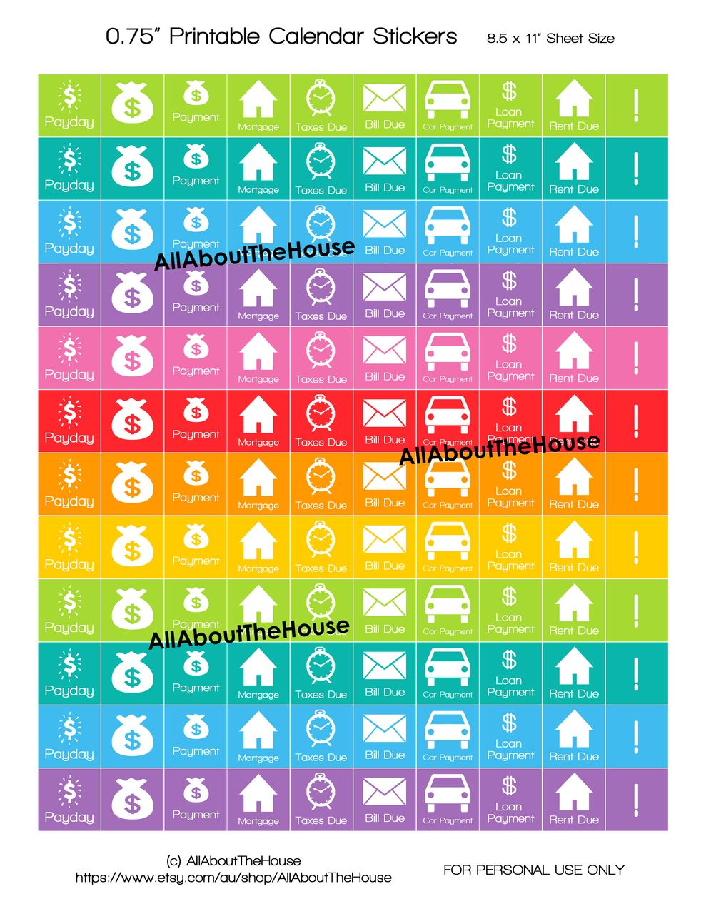picture about Printable Calendar Stickers named Printable Calendar / Planner Stickers - Rainbow Every day and