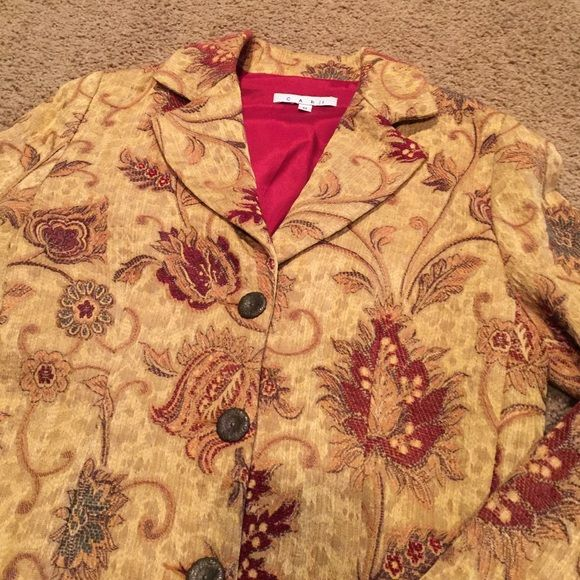 Cabi coat size 6 Gorgeous Cabi coat. Size 6. Beautiful fall colors. Great condition. CAbi Jackets & Coats Trench Coats