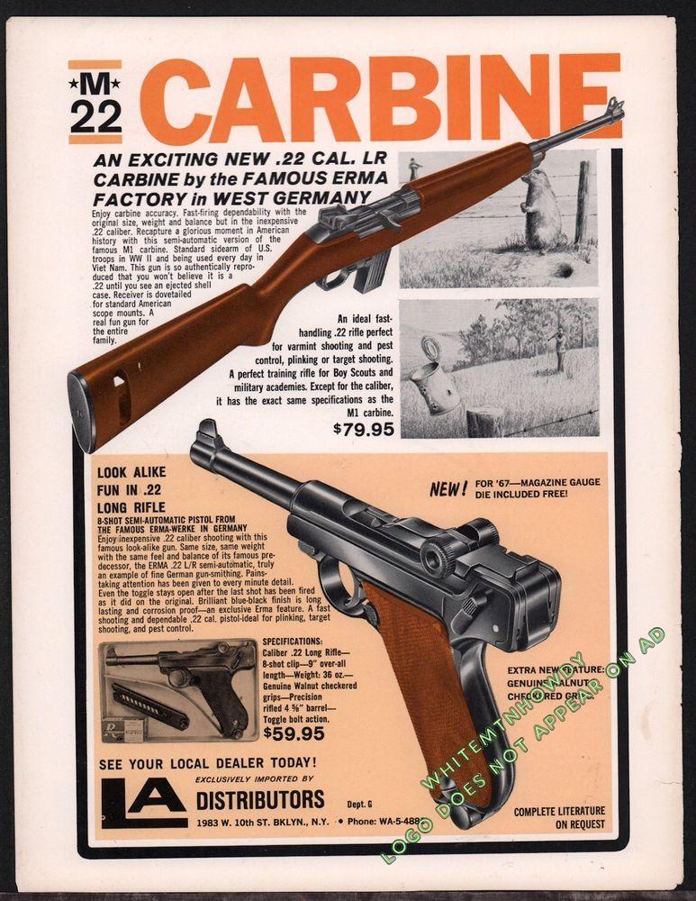 1967 ERMA M22 Carbine & Erma-Werke  22 LR Pistol LA Distributors AD