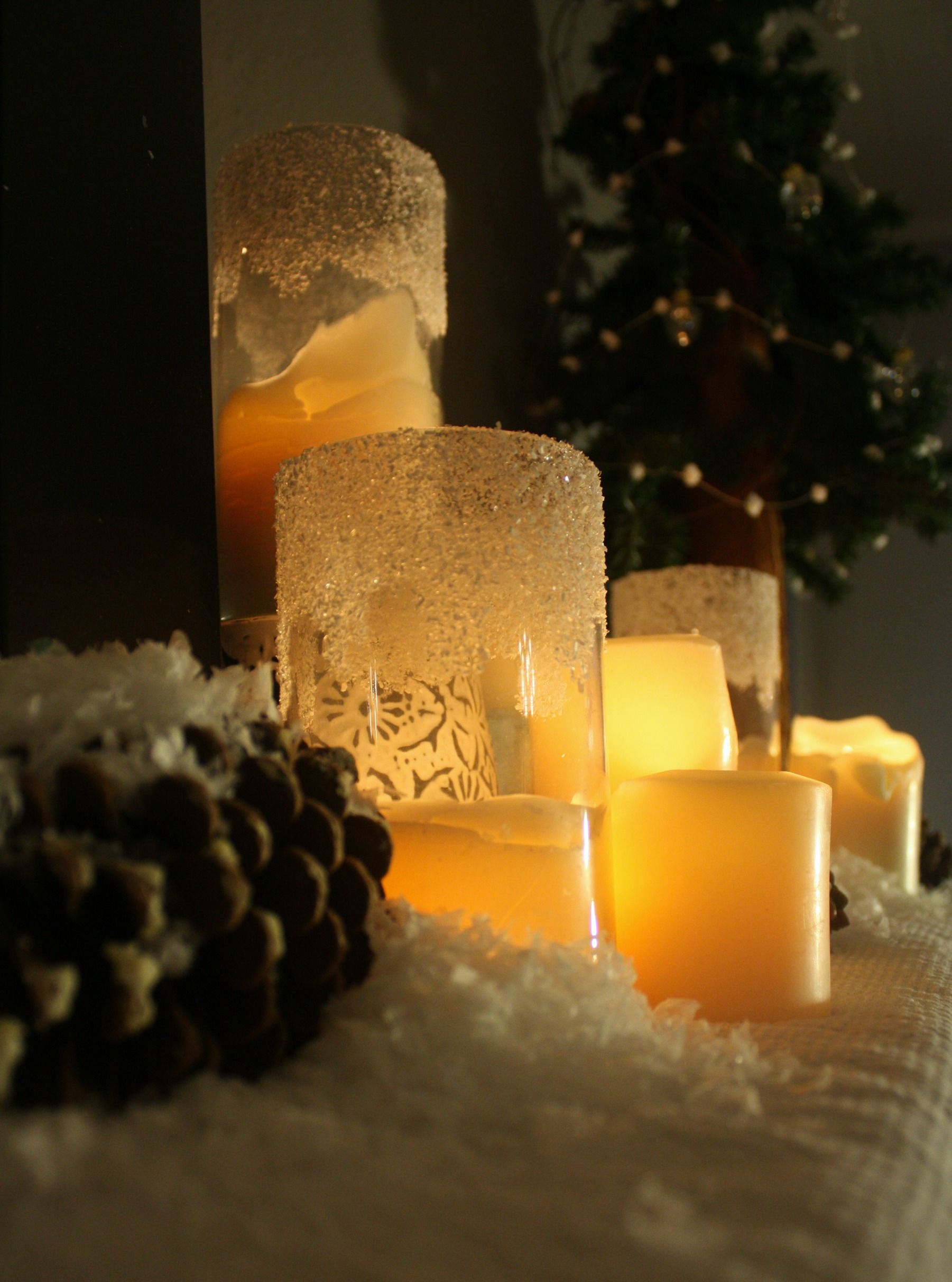 Christmas Mantel Snowy Woodlands Candle inspiration
