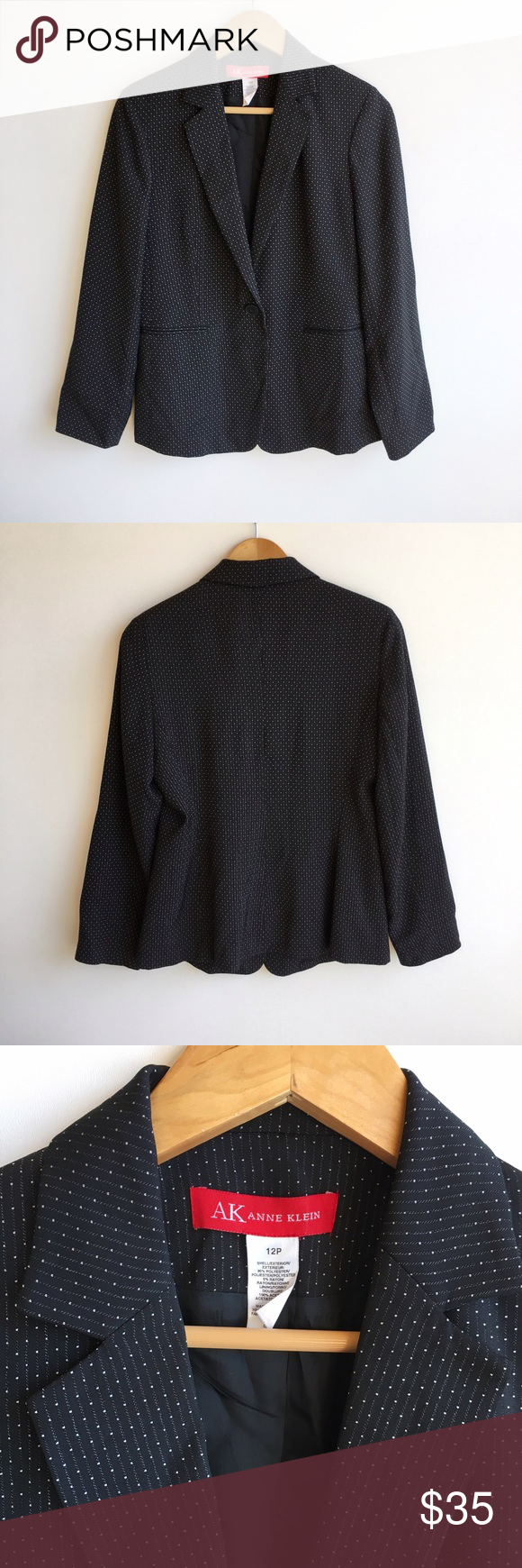 """AK Anne Klein Black and White Blazer Size 12 Beautiful AK Anne Klein Black and White Blazer. Size 12. Two putter pockets. Chest is 19"""" from pit to pit. Length is 28"""" long. Excellent condition. No stains or flaws. Anne Klein Jackets & Coats Blazers"""