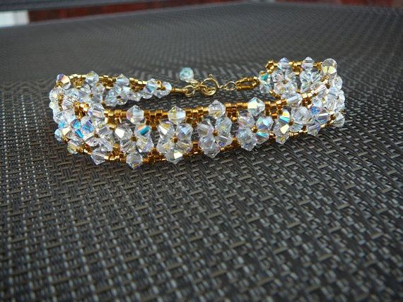 Bridal or evening gold bracelet with Swarovski crystal by Creations Chantal