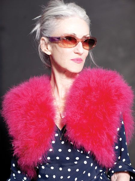 """Linda Rodin, 65 Stylist and skin-care entrepreneur """"I have several age mentors, including my 94-year-old auntie, whom I just visited in Florida. She drove me out to dinner—she was wearing black leather pants and a banana-yellow cropped jacket! Also, Gus and Pat Peterson, the husband-and-wife team: He is a brilliant photographer and she's a brilliant fashion editor. Both are 90."""" Photography by Adam Franzino"""