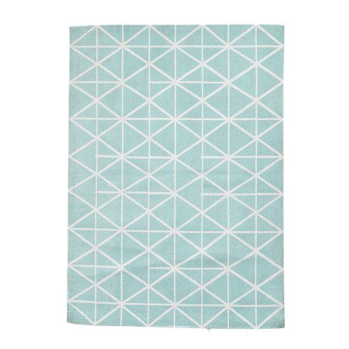 Adairs Kids Mint Geo Printed Floor Rug Blue