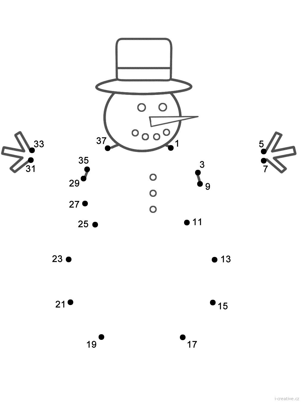 zimn čselná spojovačka sněhulák pracovn listy Pinterest
