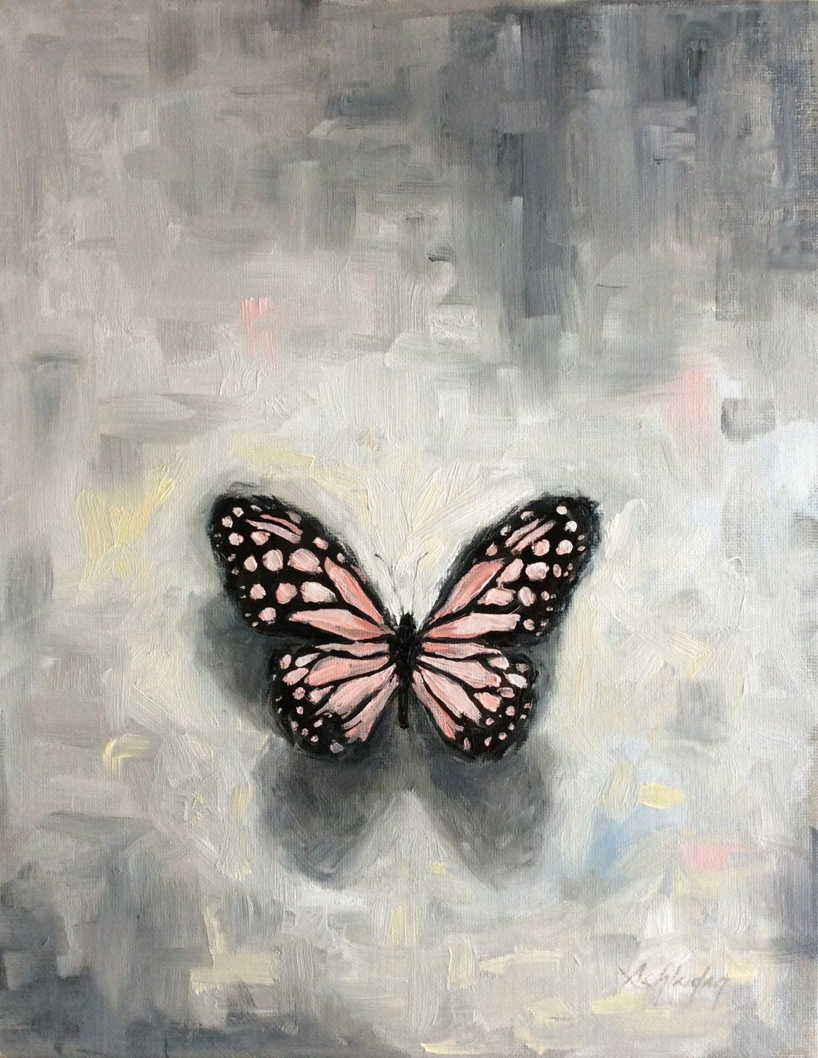 Butterfly Painting On Canvas Board 11x14 Pink Butterfly