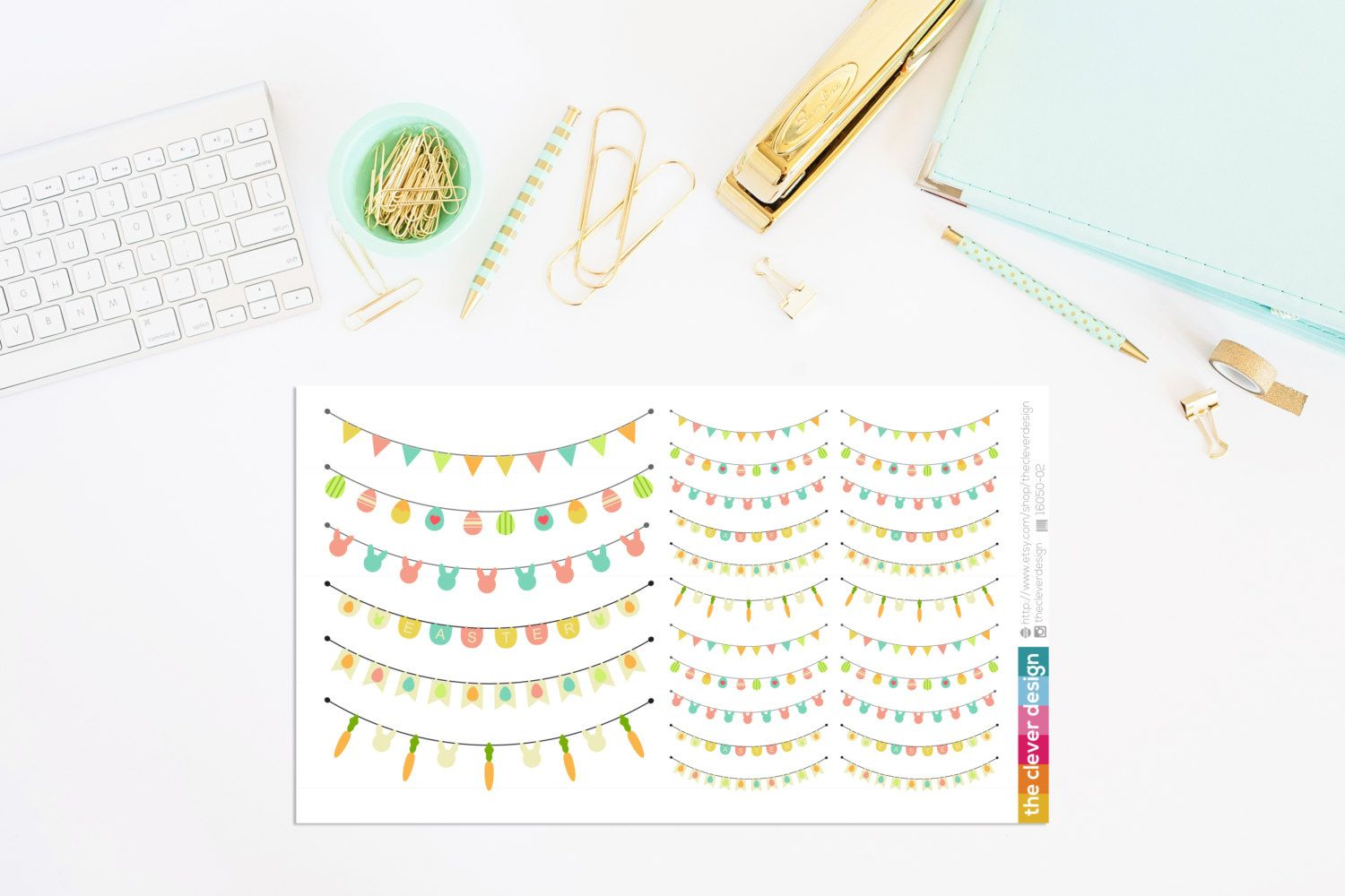 Easter Bunting Planner Stickers by TheCleverDesign on Etsy