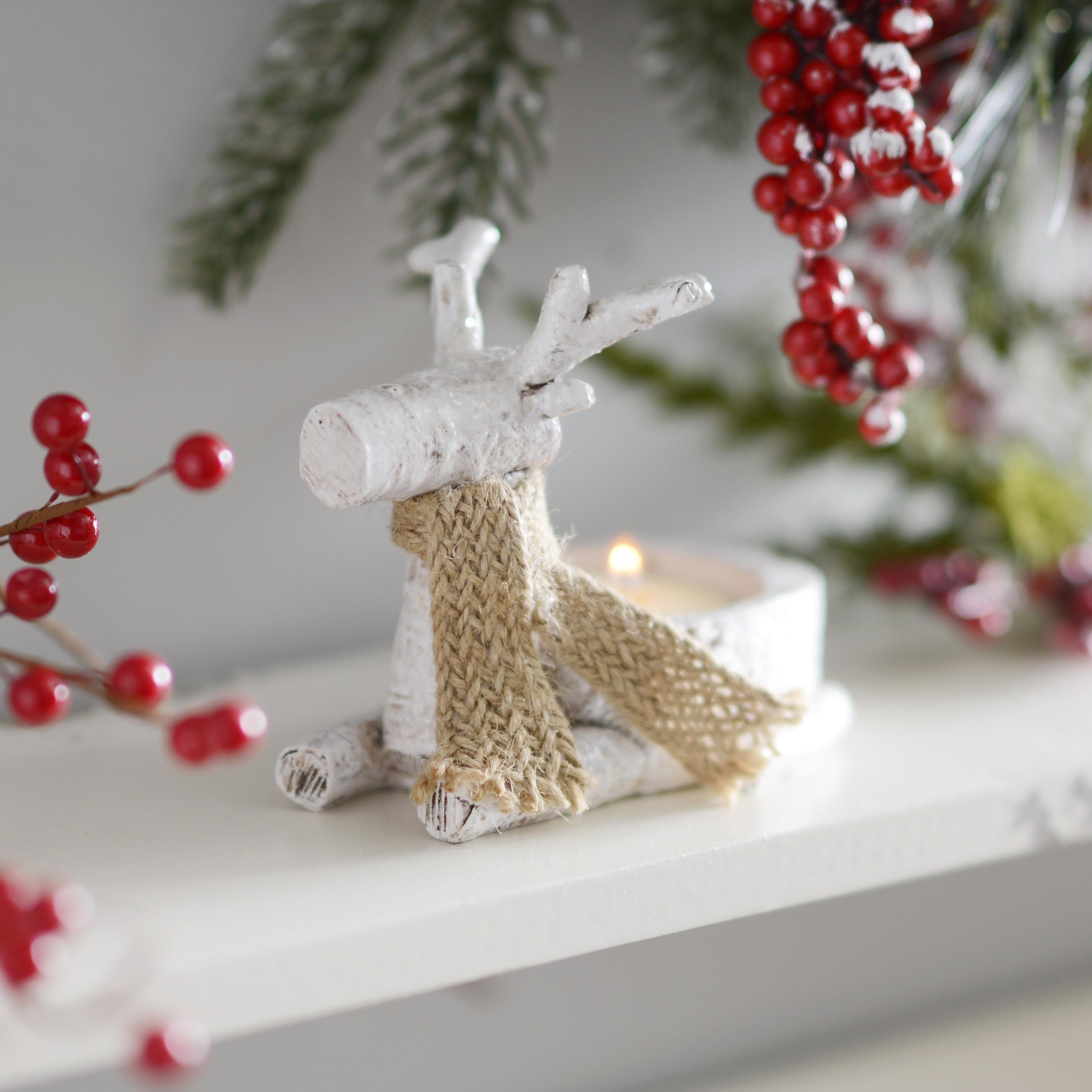 White reindeer votive candle holders set of white reindeer