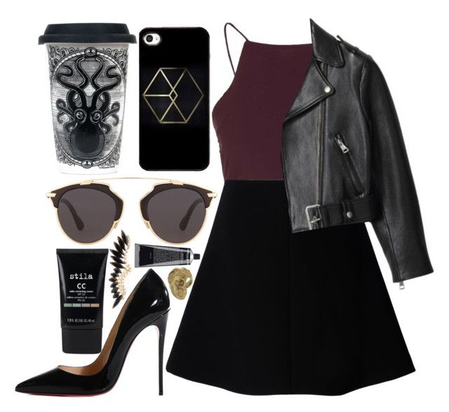"""""""back at it"""" by velvet-ears ❤ liked on Polyvore featuring Topshop, RED Valentino, Acne Studios, Christian Louboutin, Sourpuss, Christian Dior, Stila and Yunus & Eliza"""
