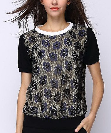 Love this Gold & Black Floral Tee - Plus Too on #zulily! #zulilyfinds