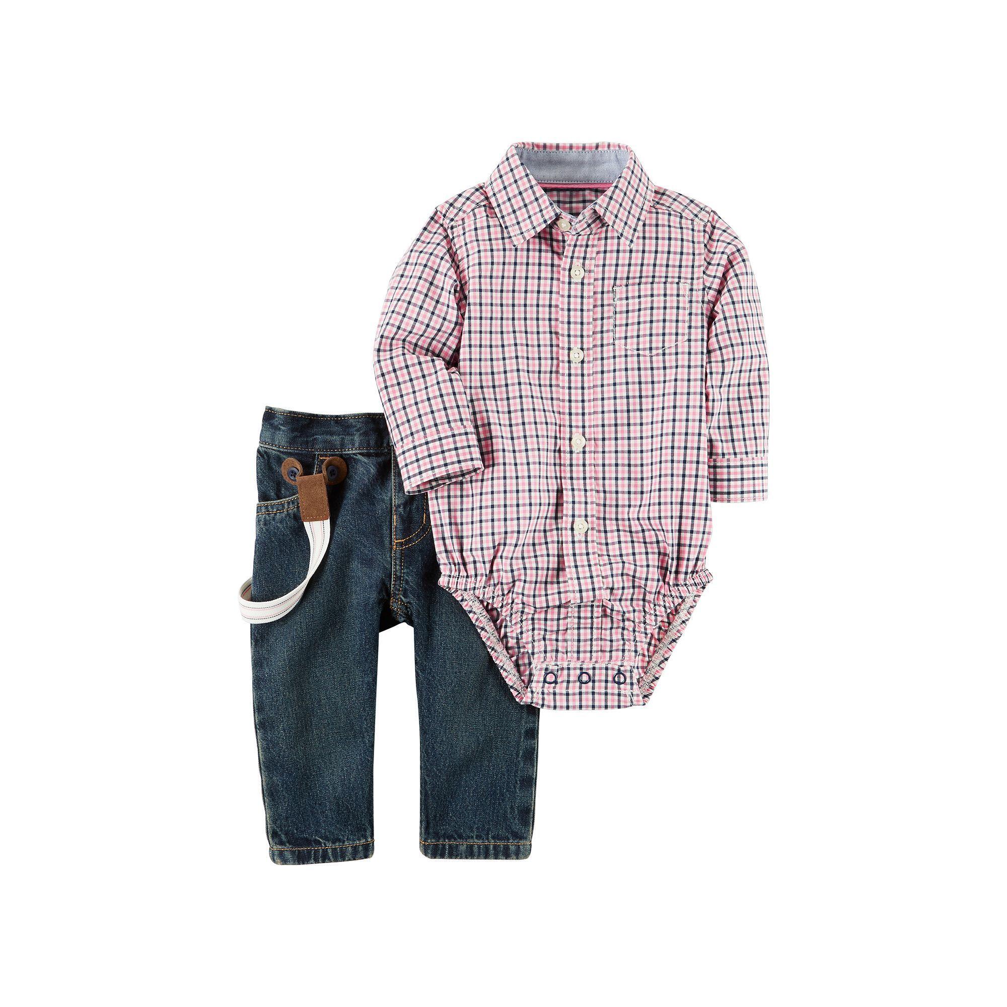 Carters Suspender Denim Jeans Boys 24 Months Blue