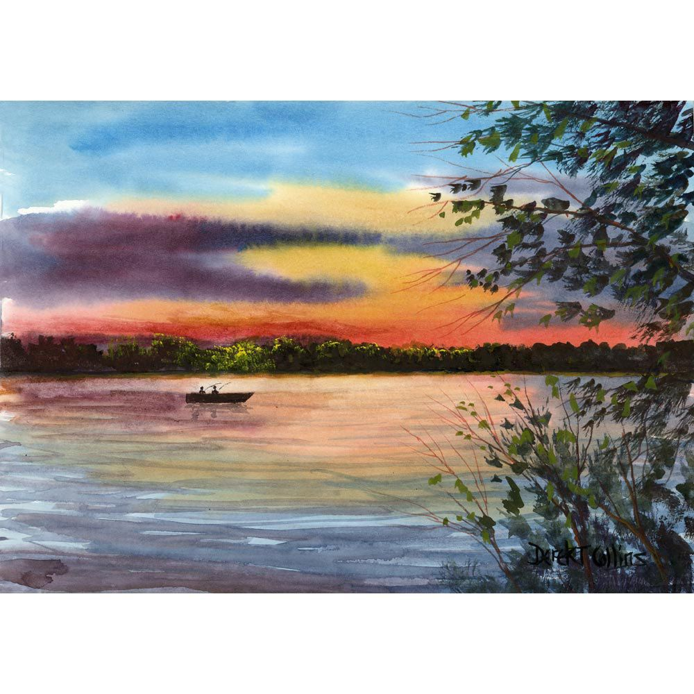 Watercolor Landscape Painting Print River water Reflections with ...