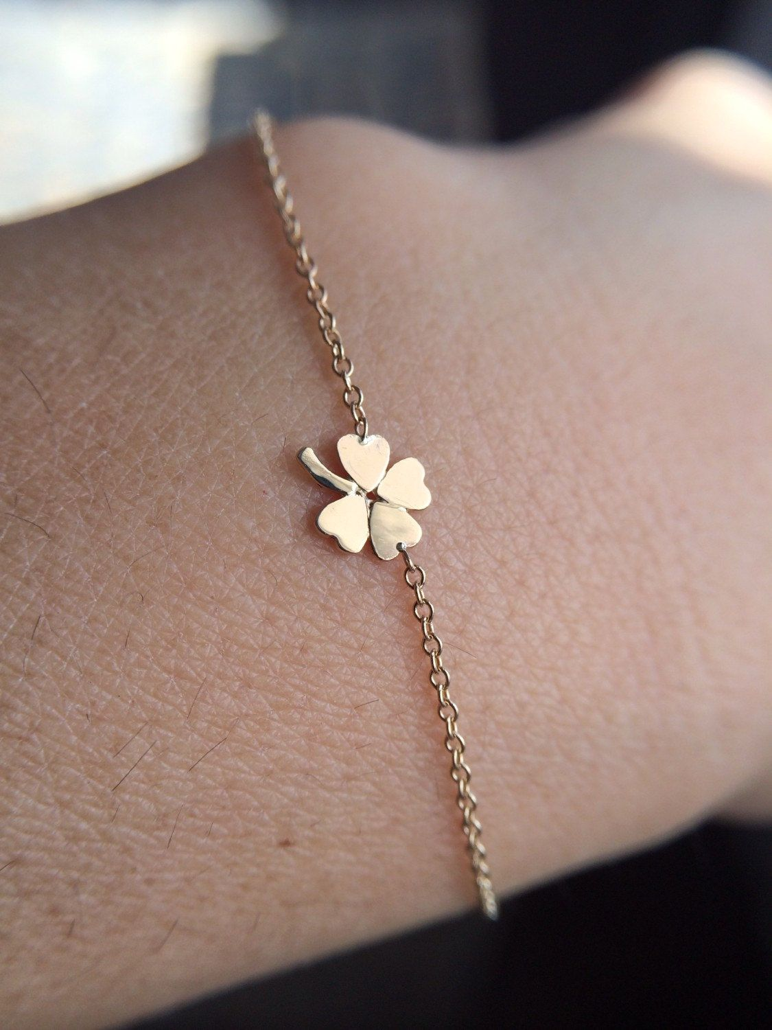 14k Solid Gold Four Leaf Clover Bracelet Shamrock Lucky