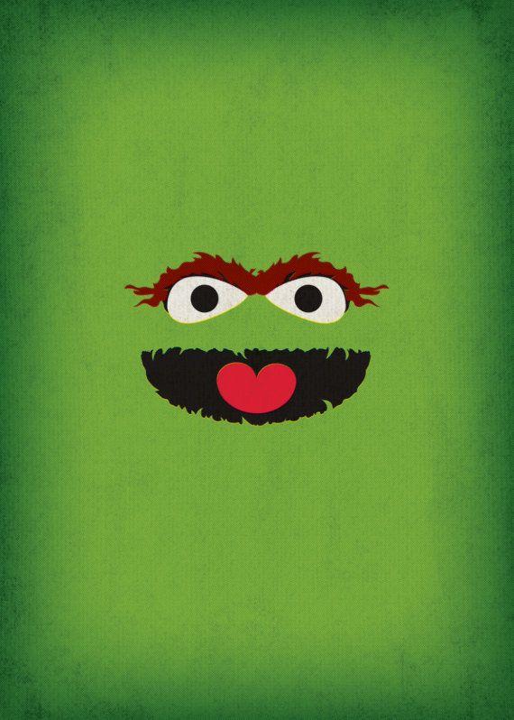 Nursery Decor Geek Art Oscar The Grouch Sesame By TheRetroInc