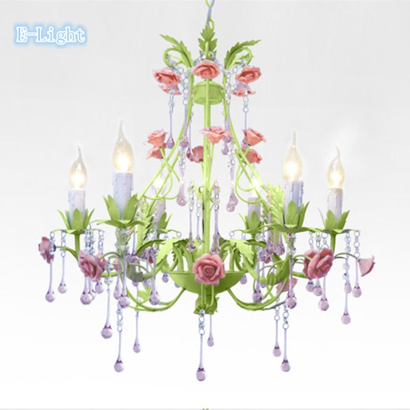 Günstige 6 Lampen Kristall Kronleuchter Schlafzimmer Lampe Rose Blume  Personalisierte Eisen Keramik Kristallleuchter Lampe Rosa/