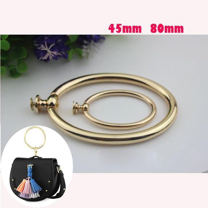 50 pcs 4.5cm 8cm light gold Diy Leather fabric handbag O Ring handle ... 5856a8781887d